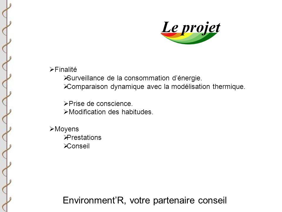 Environment'R, votre partenaire conseil Le projet  Finalité  Surveillance de la consommation d'énergie.