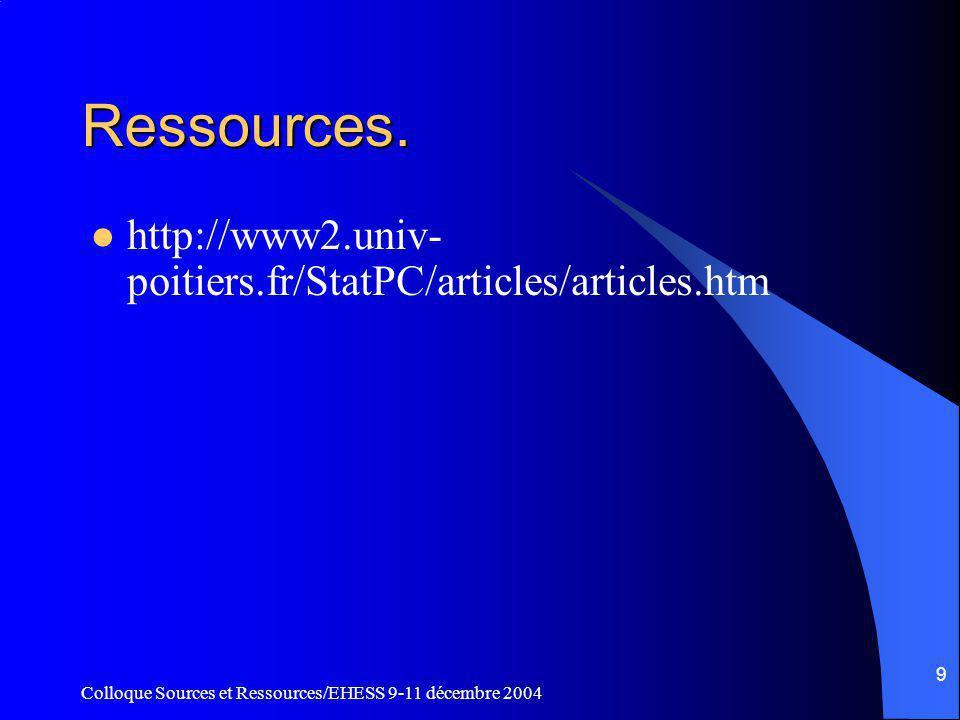 Colloque Sources et Ressources/EHESS 9-11 décembre 2004 9 Ressources.