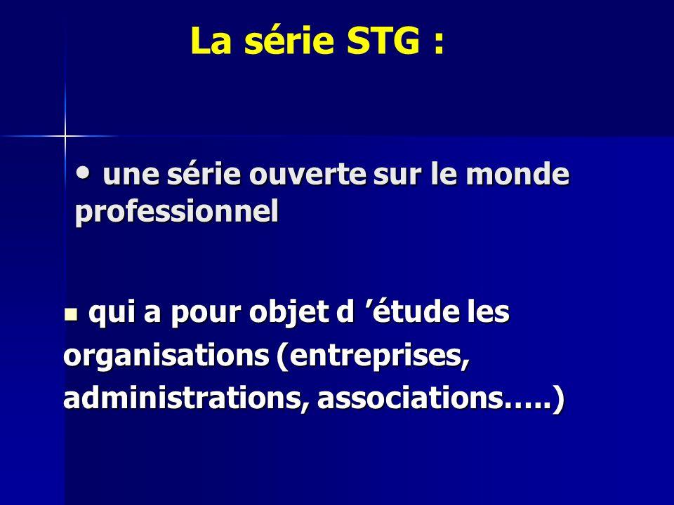 une série ouverte sur le monde professionnel une série ouverte sur le monde professionnel qui a pour objet d 'étude les organisations (entreprises, administrations, associations…..) La série STG :