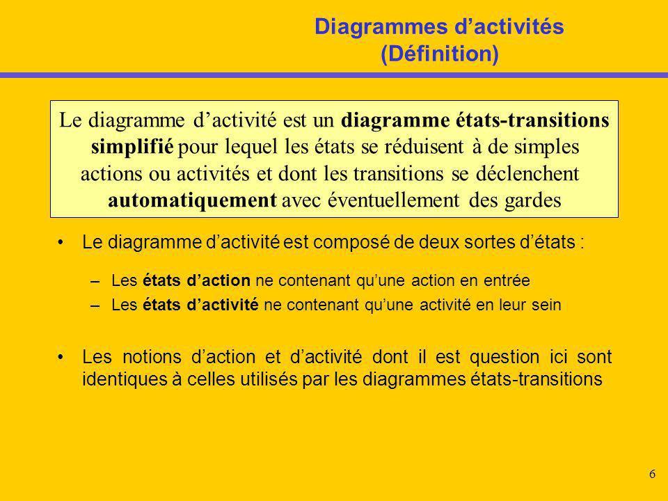 7 Diagramme d'activités Le diagramme d'activités simplifie l'écriture des diagrammes états-transitions Un état action est étiqueté par le nom de l'action en entrée Il est atomique et non redécomposable Un état activité est étiqueté par le nom de l'activité Il n'est pas atomique et peut se redécomposer en un autre diagramme d'activités Etat1 Entry / Action entrée Etat2 Do / Activité Etat4Etat3 Action entréeActivité