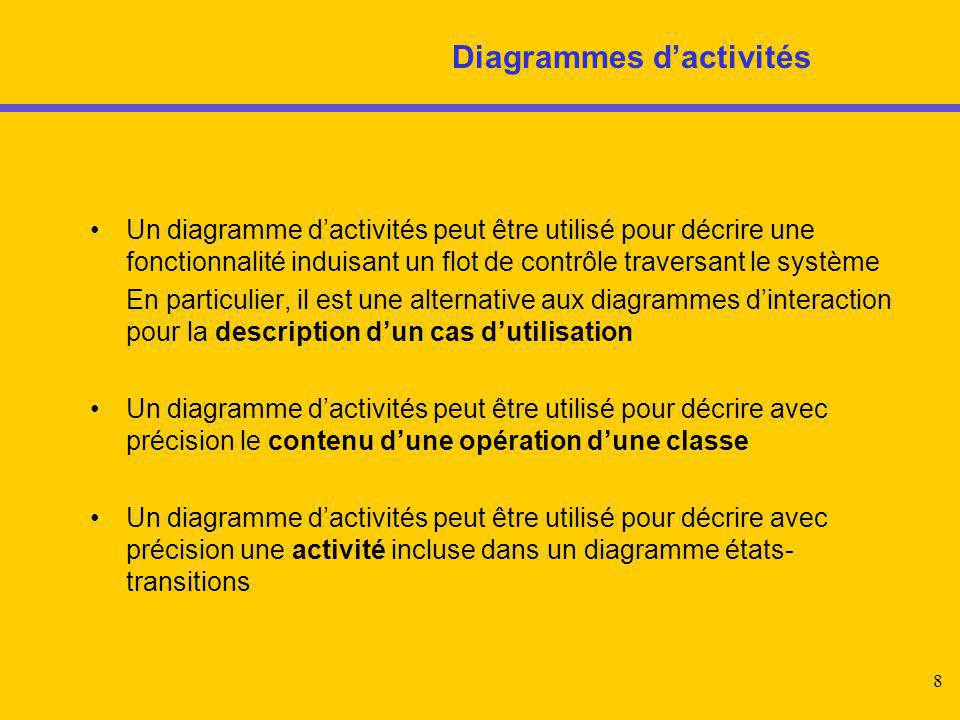 8 Diagrammes d'activités Un diagramme d'activités peut être utilisé pour décrire une fonctionnalité induisant un flot de contrôle traversant le systèm