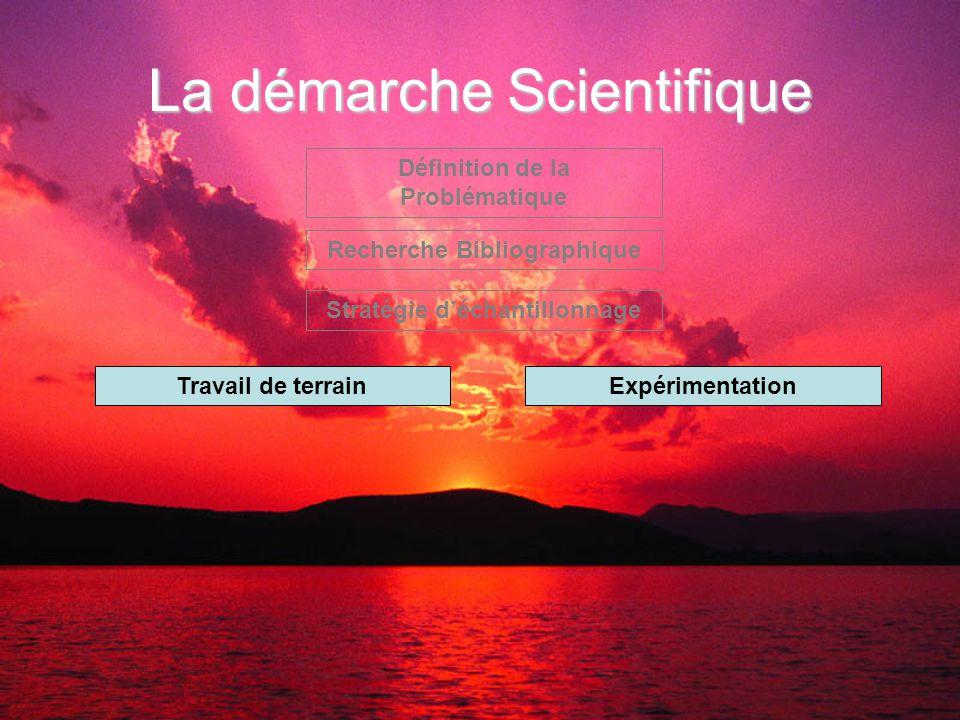 La démarche Scientifique Définition de la Problématique Recherche Bibliographique Stratégie d'échantillonnage Travail de terrainExpérimentation