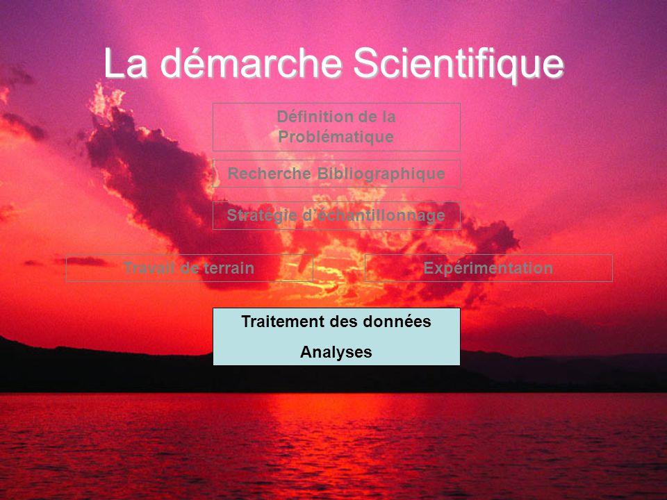 La démarche Scientifique Définition de la Problématique Recherche Bibliographique Stratégie d'échantillonnage Travail de terrainExpérimentation Traitement des données Analyses