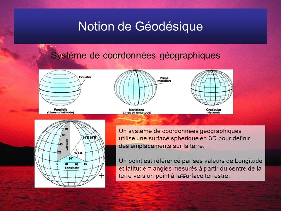Notion de Géodésique Système de coordonnées géographiques Un système de coordonnées géographiques utilise une surface sphérique en 3D pour définir des emplacements sur la terre.
