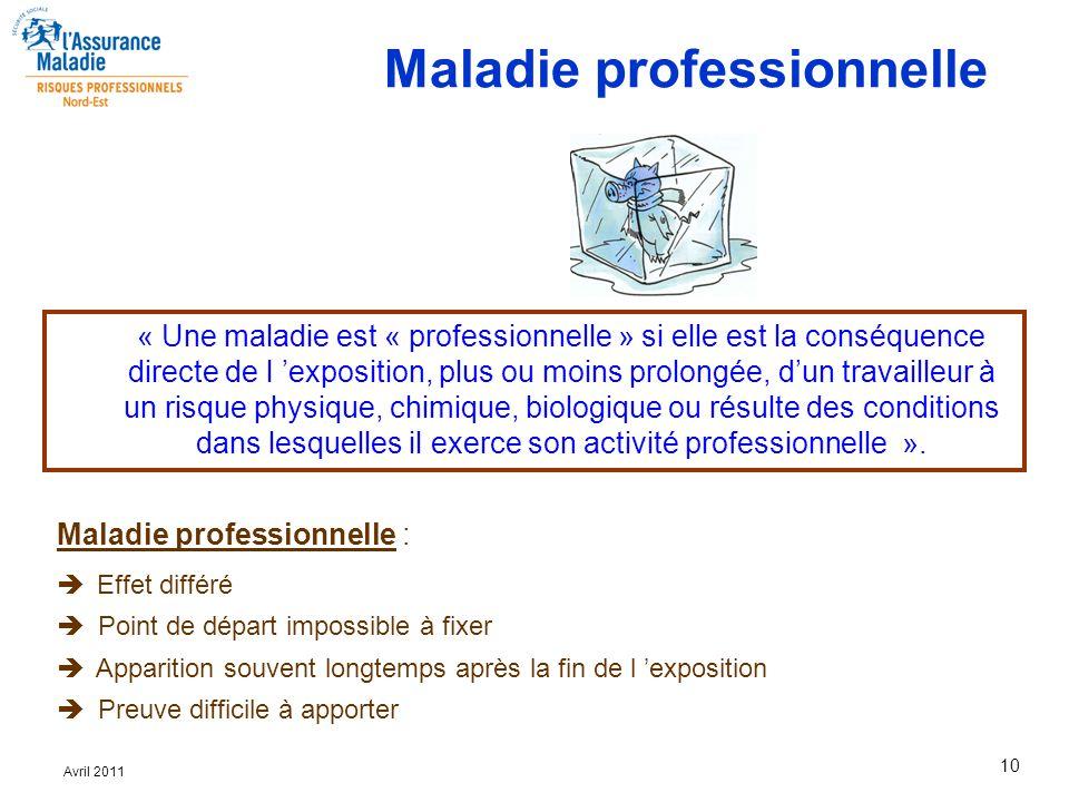 10 Avril 2011 Maladie professionnelle :  Effet différé  Point de départ impossible à fixer  Apparition souvent longtemps après la fin de l 'exposit