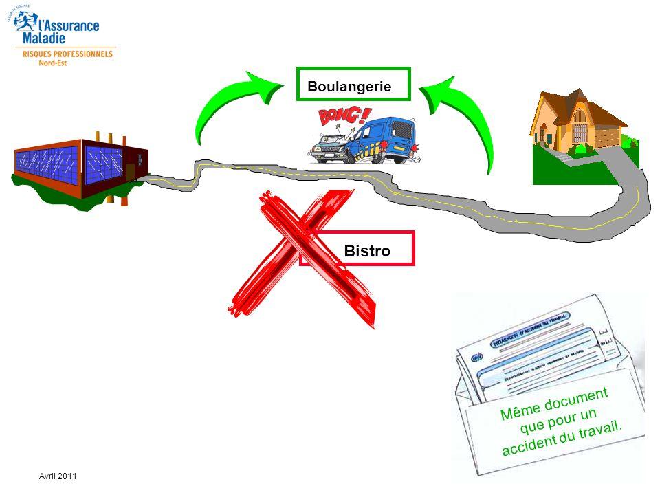 9 Avril 2011 Boulangerie Bistro Même document que pour un accident du travail.