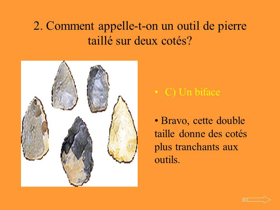 2. Comment appelle-t-on un outil de pierre taillé sur deux cotés? C) Un biface Bravo, cette double taille donne des cotés plus tranchants aux outils.