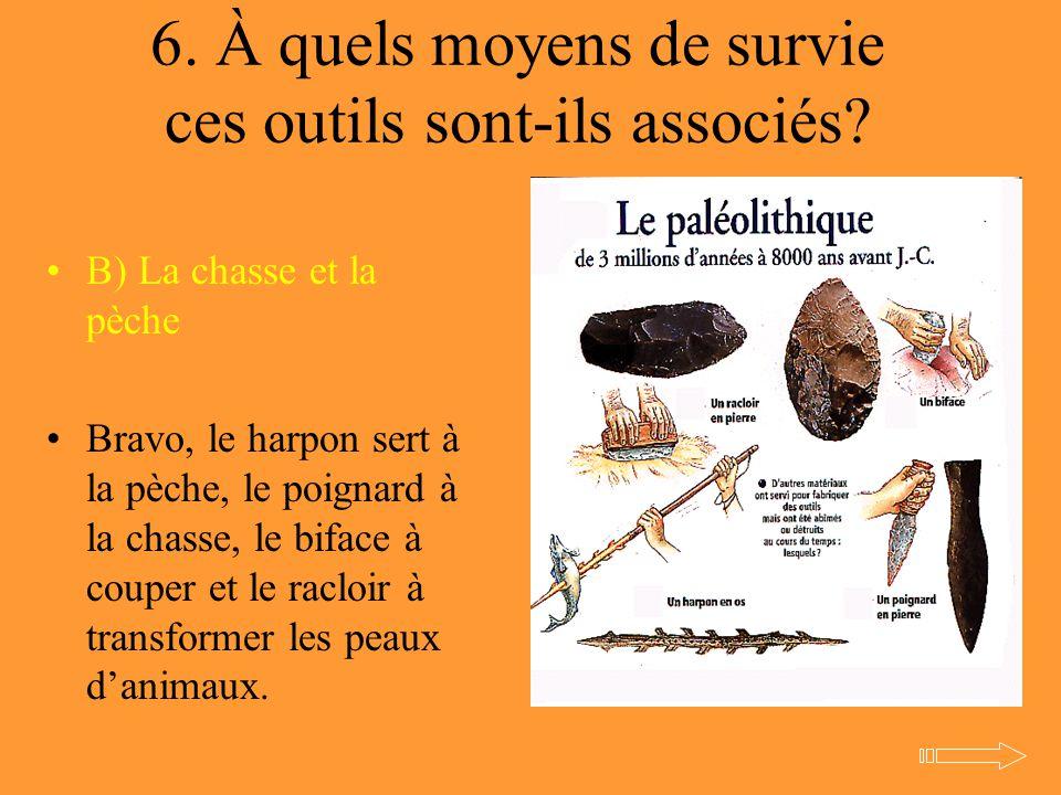 6. À quels moyens de survie ces outils sont-ils associés? B) La chasse et la pèche Bravo, le harpon sert à la pèche, le poignard à la chasse, le bifac