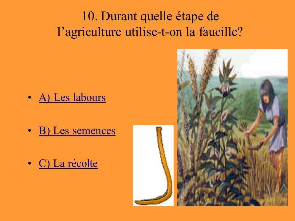 10. Durant quelle étape de l'agriculture utilise-t-on la faucille? A) Les labours B) Les semences C) La récolte