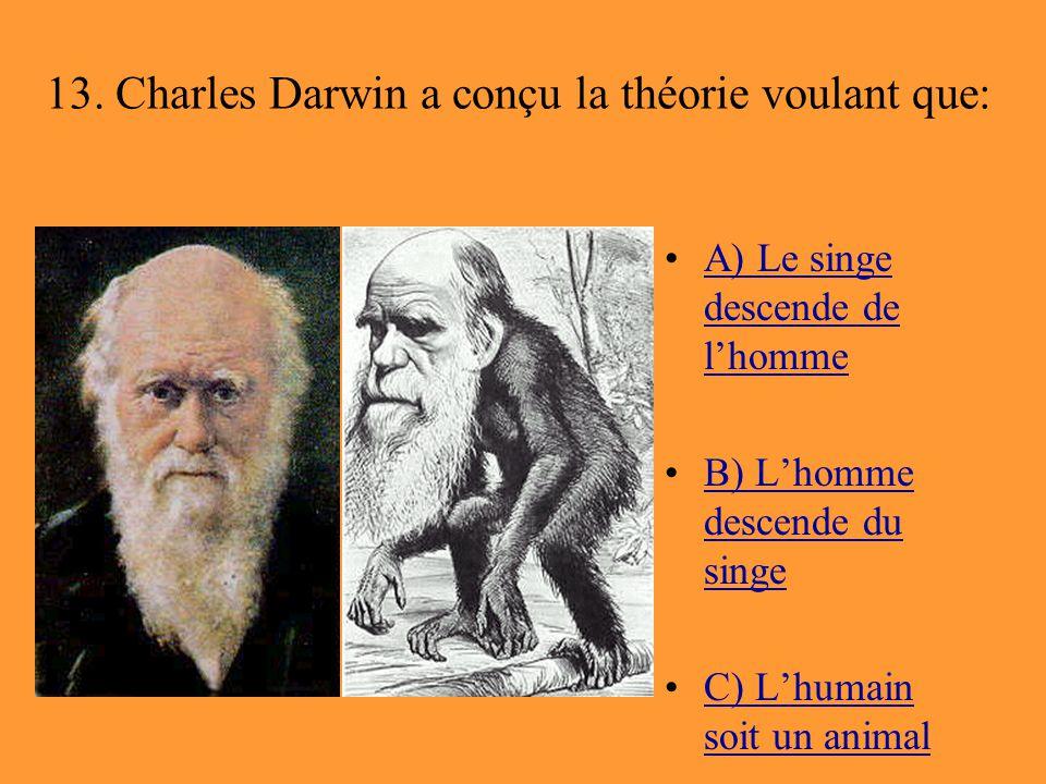 13. Charles Darwin a conçu la théorie voulant que: A) Le singe descende de l'hommeA) Le singe descende de l'homme B) L'homme descende du singeB) L'hom
