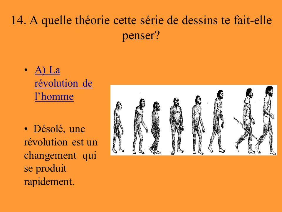 14. A quelle théorie cette série de dessins te fait-elle penser? A) La révolution de l'hommeA) La révolution de l'homme Désolé, une révolution est un