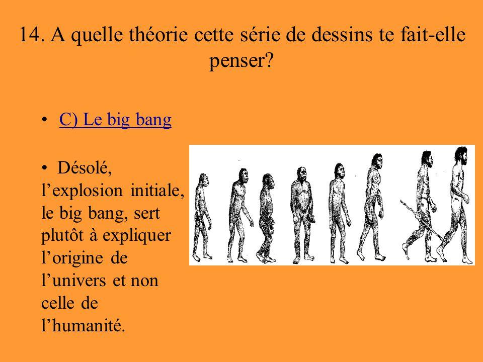 14. A quelle théorie cette série de dessins te fait-elle penser? C) Le big bang Désolé, l'explosion initiale, le big bang, sert plutôt à expliquer l'o