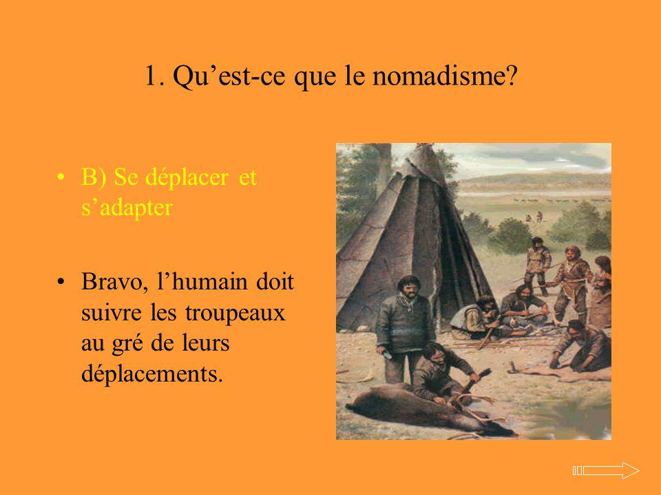 1. Qu'est-ce que le nomadisme? B) Se déplacer et s'adapter Bravo, l'humain doit suivre les troupeaux au gré de leurs déplacements.