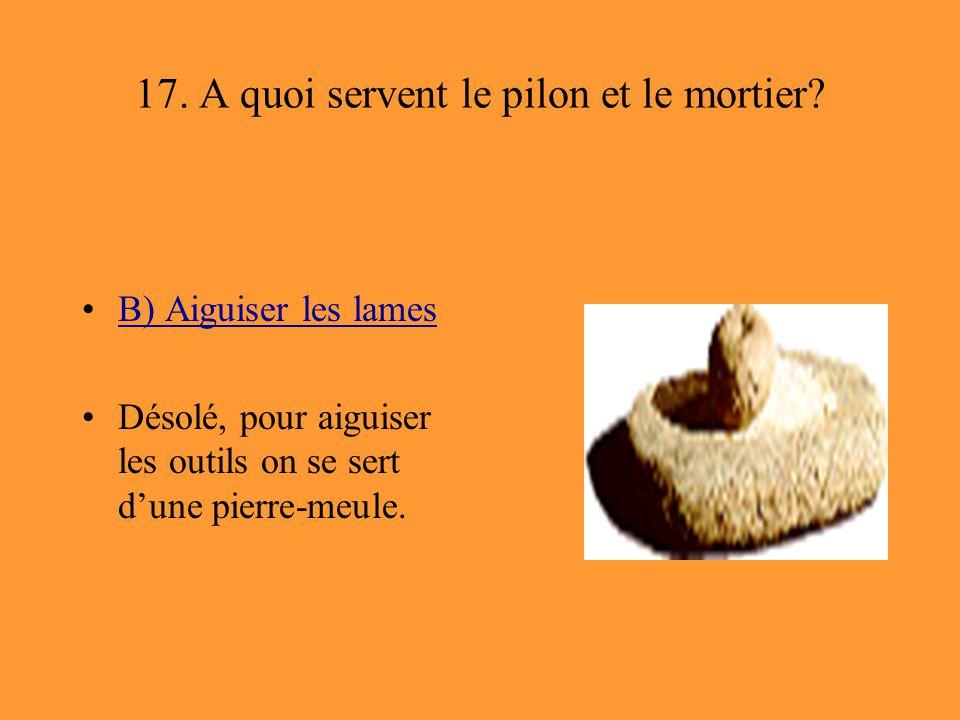 17. A quoi servent le pilon et le mortier? B) Aiguiser les lames Désolé, pour aiguiser les outils on se sert d'une pierre-meule.