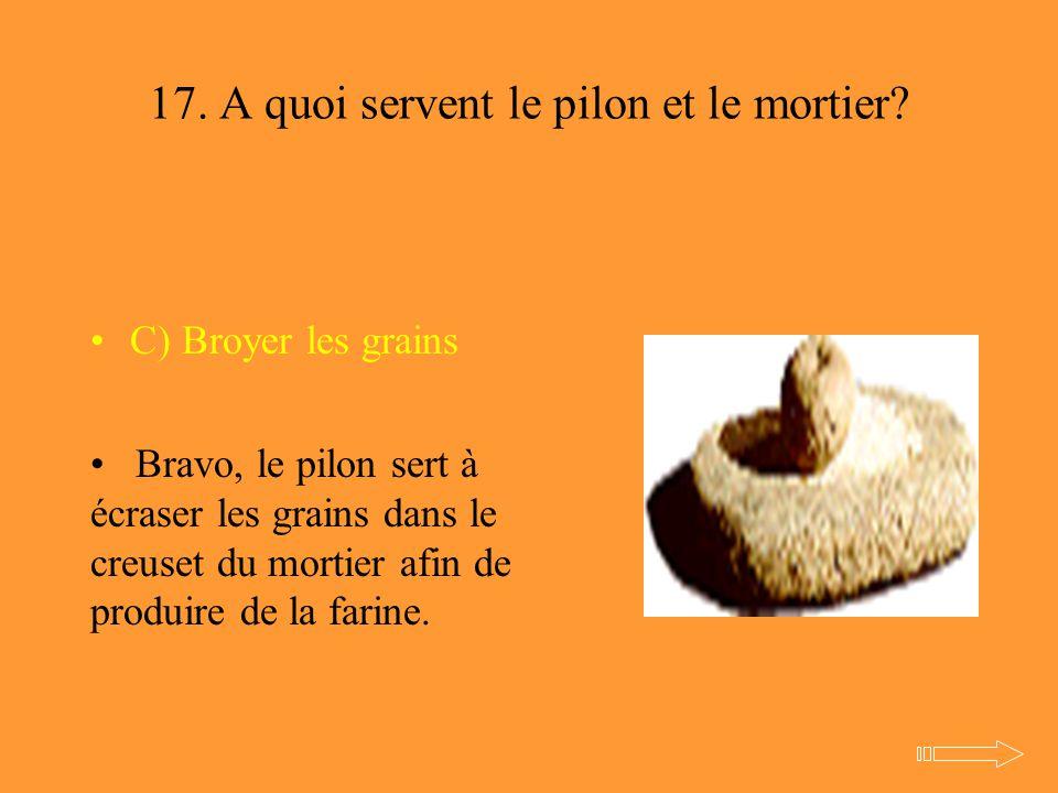 17. A quoi servent le pilon et le mortier? C) Broyer les grains Bravo, le pilon sert à écraser les grains dans le creuset du mortier afin de produire