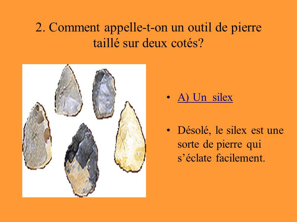 2. Comment appelle-t-on un outil de pierre taillé sur deux cotés? A) Un silex Désolé, le silex est une sorte de pierre qui s'éclate facilement.