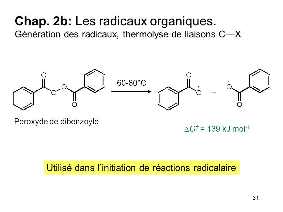 31 Chap. 2b: Les radicaux organiques. Génération des radicaux, thermolyse de liaisons C—X 60-80°C  G ‡ = 139 kJ mol -1 Peroxyde de dibenzoyle Utilisé