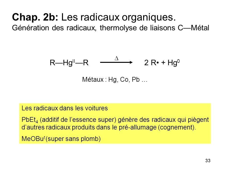 33 Chap. 2b: Les radicaux organiques. Génération des radicaux, thermolyse de liaisons C—Métal Les radicaux dans les voitures PbEt 4 (additif de l'esse