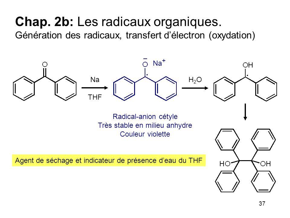 37 Chap. 2b: Les radicaux organiques. Génération des radicaux, transfert d'électron (oxydation) Agent de séchage et indicateur de présence d'eau du TH