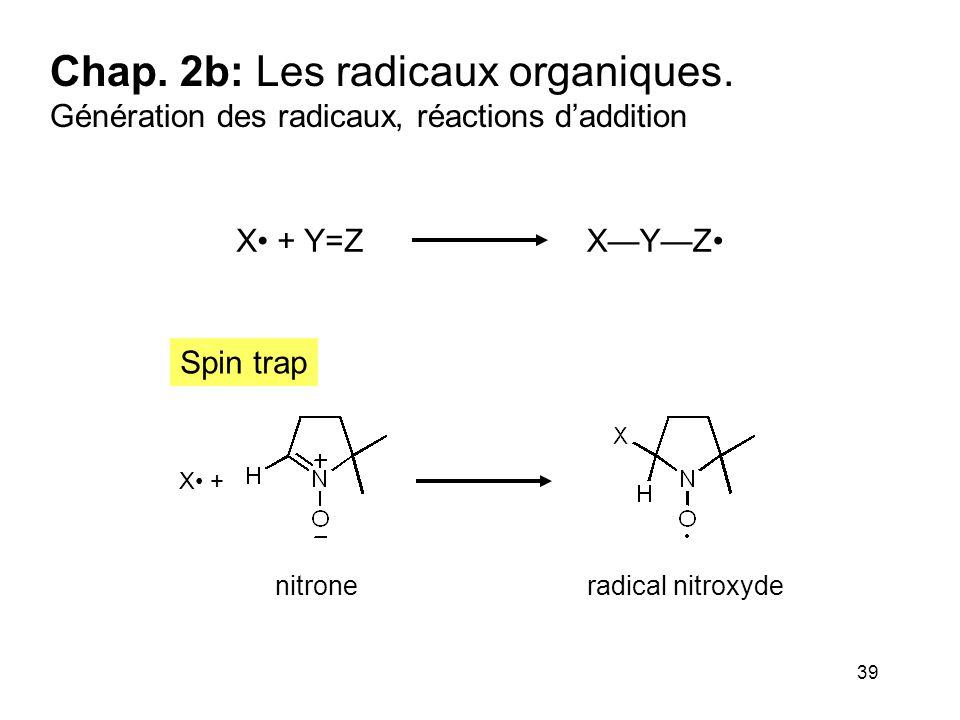 39 Chap. 2b: Les radicaux organiques. Génération des radicaux, réactions d'addition X + Y=ZX—Y—Z X + nitrone radical nitroxyde Spin trap