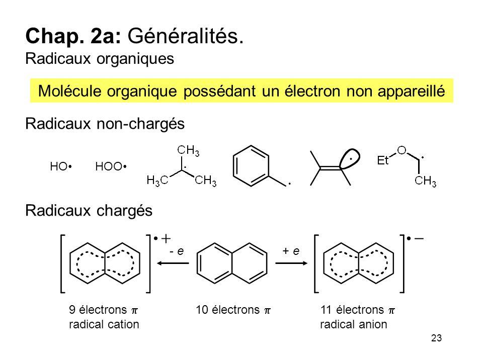23 Chap. 2a: Généralités. Radicaux organiques Molécule organique possédant un électron non appareillé Radicaux non-chargés Radicaux chargés - e+ e 10