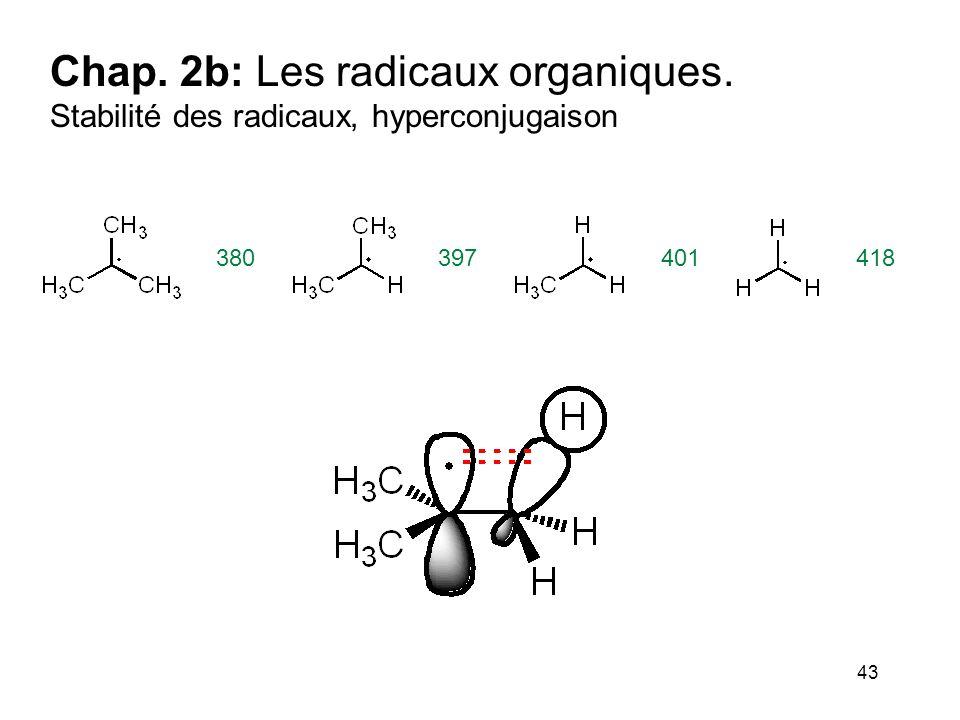 43 Chap. 2b: Les radicaux organiques. Stabilité des radicaux, hyperconjugaison 380397401418