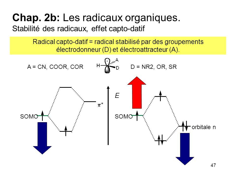 47 Chap. 2b: Les radicaux organiques. Stabilité des radicaux, effet capto-datif Radical capto-datif = radical stabilisé par des groupements électrodon