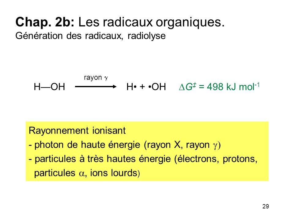 29 Chap. 2b: Les radicaux organiques. Génération des radicaux, radiolyse rayon  H + OHH—OH  G ‡ = 498 kJ mol -1 Rayonnement ionisant - photon de hau