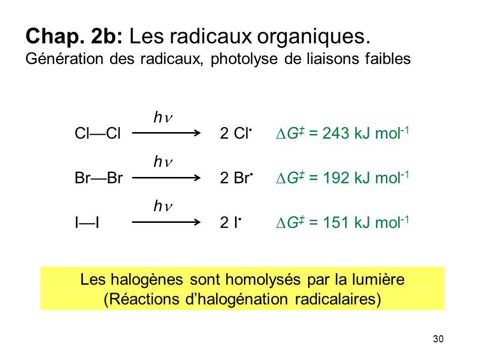 30 Chap. 2b: Les radicaux organiques. Génération des radicaux, photolyse de liaisons faibles h h h 2 Cl Cl—Cl  G ‡ = 243 kJ mol -1 2 Br Br—Br  G ‡ =