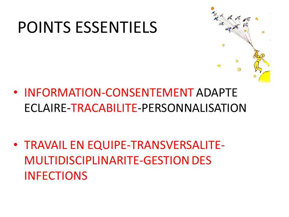 POINTS ESSENTIELS INFORMATION-CONSENTEMENT ADAPTE ECLAIRE-TRACABILITE-PERSONNALISATION TRAVAIL EN EQUIPE-TRANSVERSALITE- MULTIDISCIPLINARITE-GESTION DES INFECTIONS