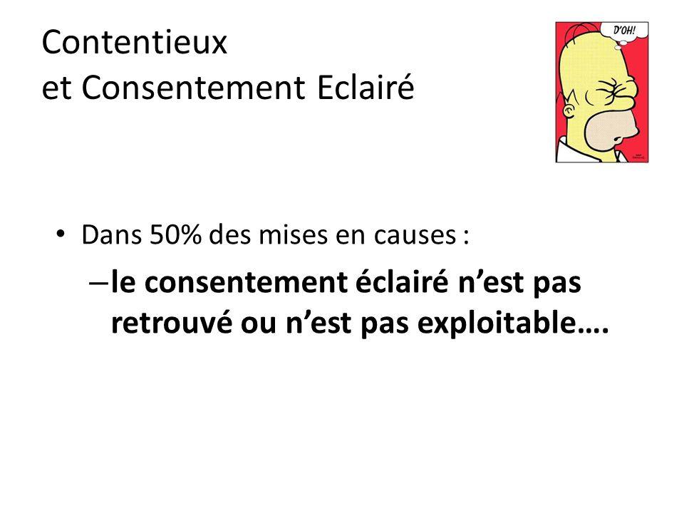 Contentieux et Consentement Eclairé Dans 50% des mises en causes : – le consentement éclairé n'est pas retrouvé ou n'est pas exploitable….
