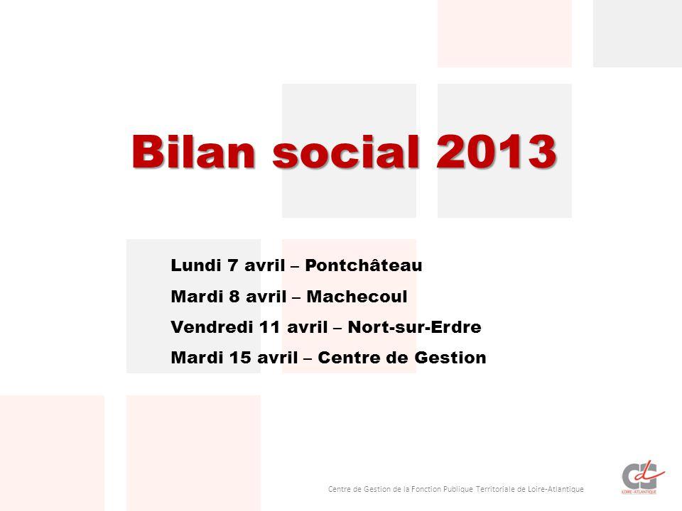Centre de Gestion de la Fonction Publique Territoriale de Loire-Atlantique Bilan social 2013 Lundi 7 avril – Pontchâteau Mardi 8 avril – Machecoul Ven