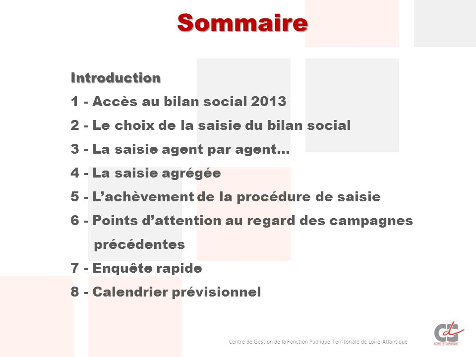 Centre de Gestion de la Fonction Publique Territoriale de Loire-Atlantique Sommaire Introduction 1 - Accès au bilan social 2013 2 - Le choix de la sai