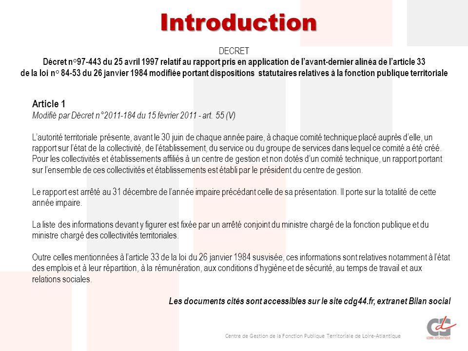 Centre de Gestion de la Fonction Publique Territoriale de Loire-Atlantique DECRET Décret n°97-443 du 25 avril 1997 relatif au rapport pris en application de l'avant-dernier alinéa de l'article 33 de la loi n° 84-53 du 26 janvier 1984 modifiée portant dispositions statutaires relatives à la fonction publique territoriale Article 1 Modifié par Décret n°2011-184 du 15 février 2011 - art.