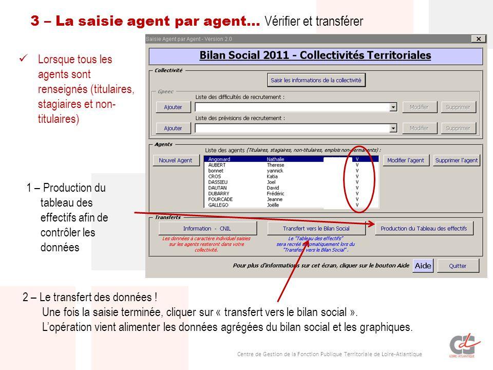 Centre de Gestion de la Fonction Publique Territoriale de Loire-Atlantique Lorsque tous les agents sont renseignés (titulaires, stagiaires et non- tit