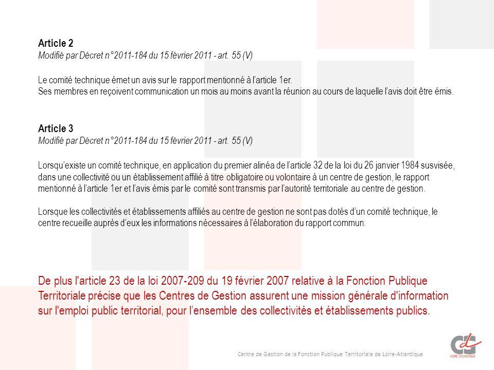 Centre de Gestion de la Fonction Publique Territoriale de Loire-Atlantique Article 2 Modifié par Décret n°2011-184 du 15 février 2011 - art. 55 (V) Le