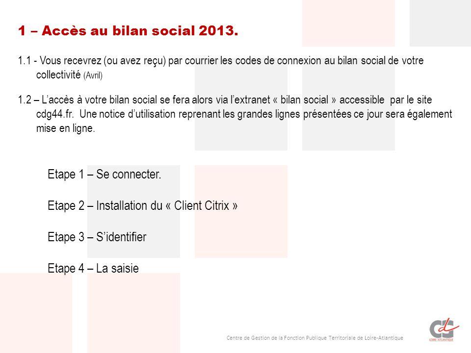 Centre de Gestion de la Fonction Publique Territoriale de Loire-Atlantique 1 – Accès au bilan social 2013. 1.1 - Vous recevrez (ou avez reçu) par cour