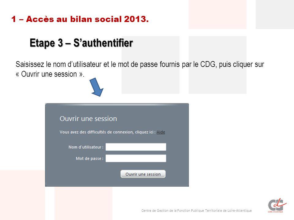 Centre de Gestion de la Fonction Publique Territoriale de Loire-Atlantique 1 – Accès au bilan social 2013. Etape 3 – S'authentifier Saisissez le nom d