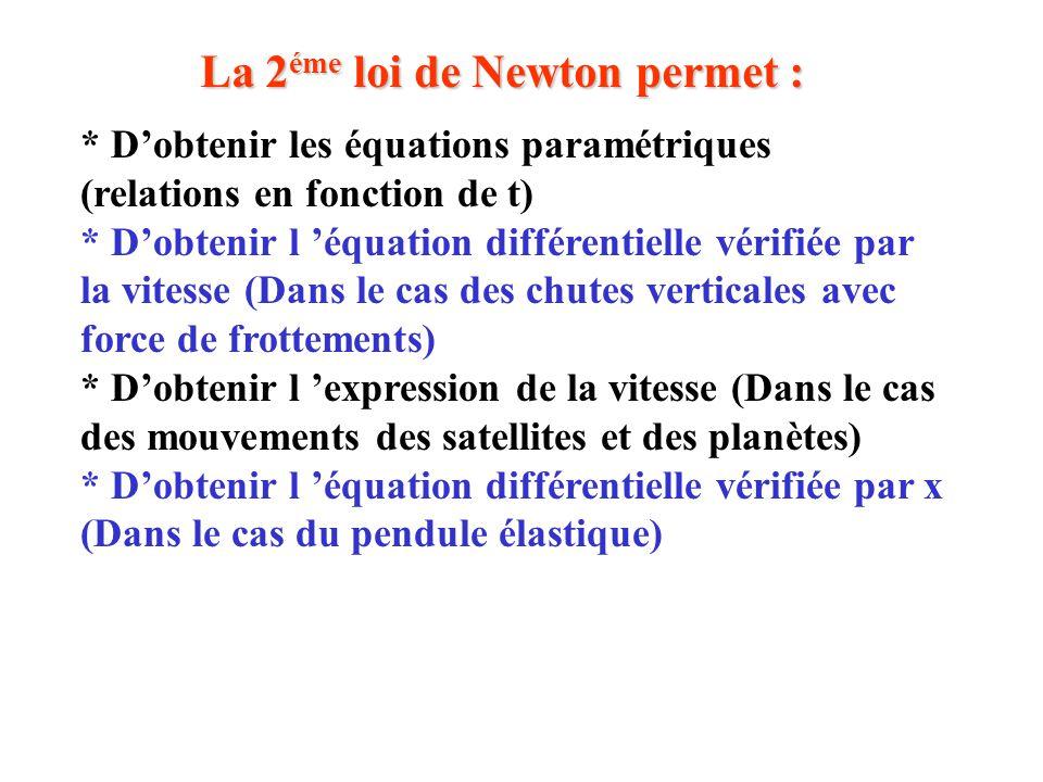 La 2 éme loi de Newton permet : * D'obtenir les équations paramétriques (relations en fonction de t) * D'obtenir l 'équation différentielle vérifiée p