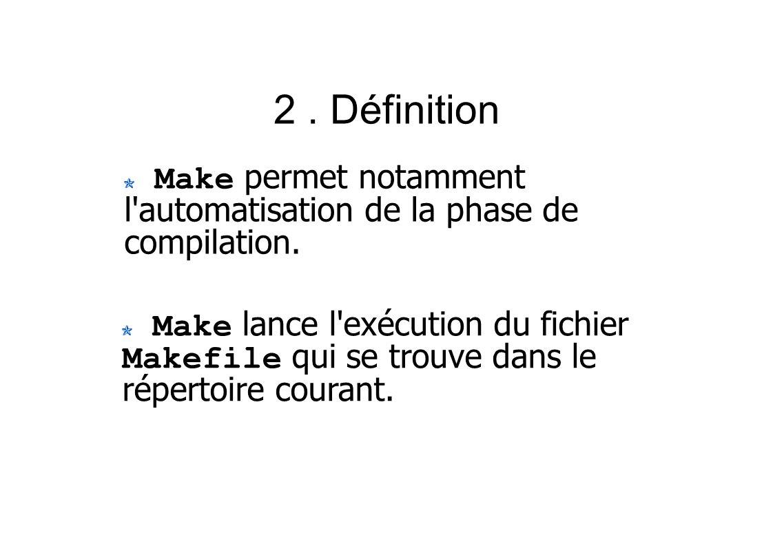 2. Définition Make permet notamment l automatisation de la phase de compilation.