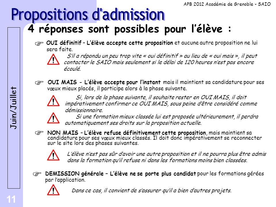 11 4 réponses sont possibles pour l'élève : OUI définitif – L'élève accepte cette proposition et aucune autre proposition ne lui sera faite. Juin/Juil