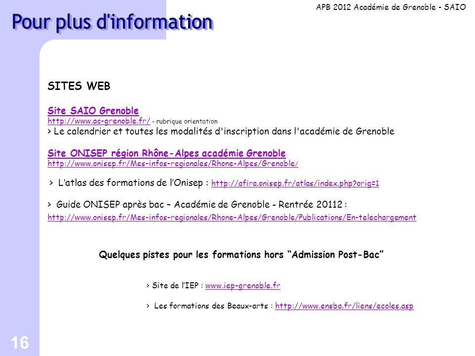 16 SITES WEB Site SAIO Grenoble http://www.ac-grenoble.fr/ http://www.ac-grenoble.fr/ - rubrique orientation > Le calendrier et toutes les modalités d