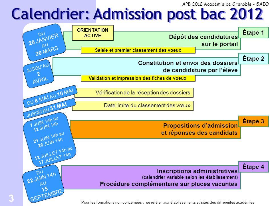 3 Propositions d'admission et réponses des candidats Date limite du classement des vœux Constitution et envoi des dossiers de candidature par l'élève