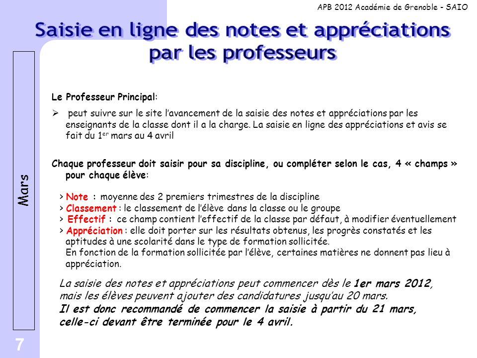 7 Le Professeur Principal:  peut suivre sur le site l'avancement de la saisie des notes et appréciations par les enseignants de la classe dont il a l