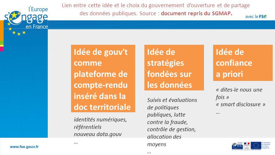 Lien entre cette idée et le choix du gouvernement d'ouverture et de partage des données publiques.