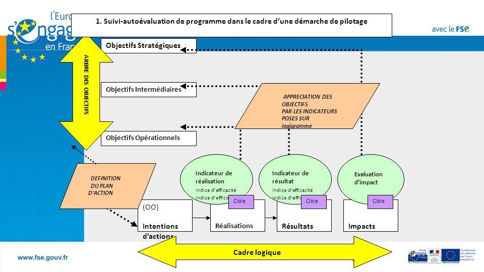 B6 (OO) Intentions d'actions Réalisations RésultatsImpacts Indicateur de réalisation Indice d'efficacité Indice d'efficience Indicateur de résultat Indice d'efficacité Indice d'efficience Evaluation d'impact Cible Cadre logique Objectifs Stratégiques Objectifs Opérationnels Objectifs Intermédiaires ARBRE DES OBJECTIFS APPRECIATION DES OBJECTIFS PAR LES INDICATEURS POSES SUR logigramme 1.