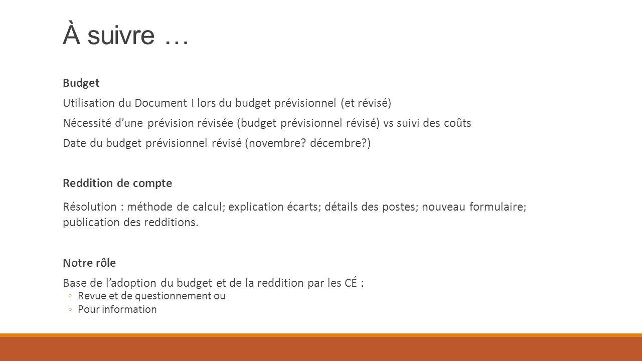 À suivre … Budget Utilisation du Document I lors du budget prévisionnel (et révisé) Nécessité d'une prévision révisée (budget prévisionnel révisé) vs suivi des coûts Date du budget prévisionnel révisé (novembre.