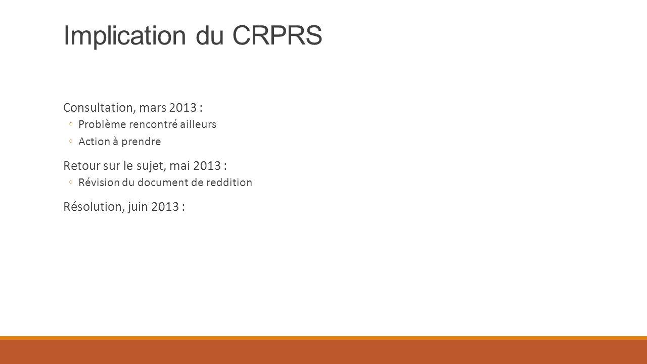 Implication du CRPRS Consultation, mars 2013 : ◦Problème rencontré ailleurs ◦Action à prendre Retour sur le sujet, mai 2013 : ◦Révision du document de reddition Résolution, juin 2013 :