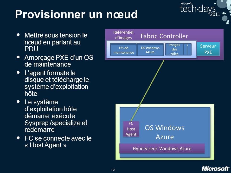 23 Provisionner un nœud Mettre sous tension le nœud en parlant au PDU Amorçage PXE d'un OS de maintenance L'agent formate le disque et télécharge le s