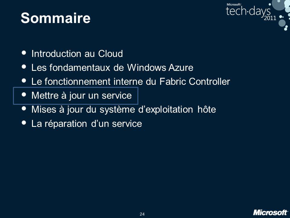 24 Sommaire Introduction au Cloud Les fondamentaux de Windows Azure Le fonctionnement interne du Fabric Controller Mettre à jour un service Mises à jo